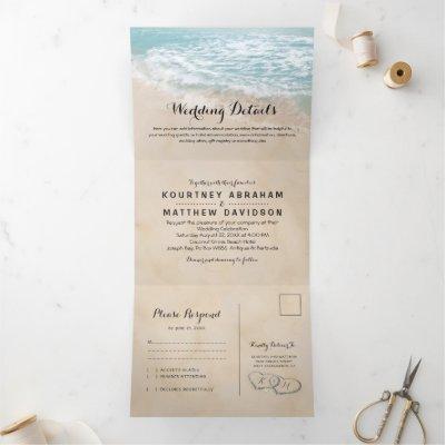 Tropical Beach 3 in 1 Wedding Tri-Fold Invitation