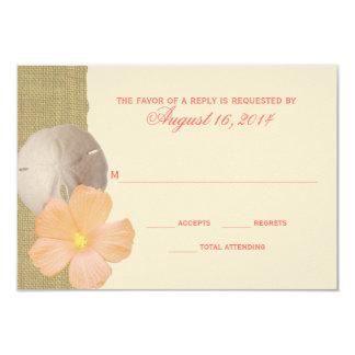 "Tropical Beach and Burlap RSVP 3.5"" X 5"" Invitation Card"