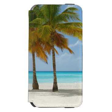 Beach Themed Tropical Beach and Palm Trees iPhone 6/6s Wallet Case
