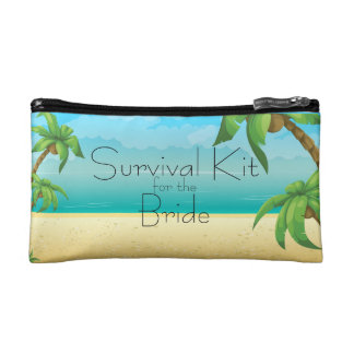 Tropical Beach and Palm Trees Survival Kit Makeup Bag