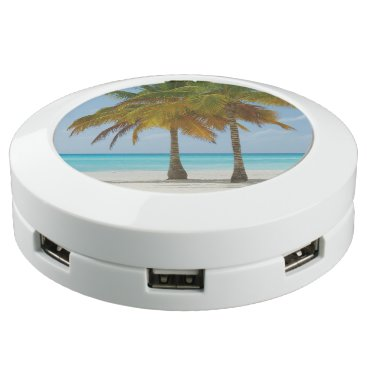 Beach Themed Tropical Beach and Palm Trees USB Charging Station
