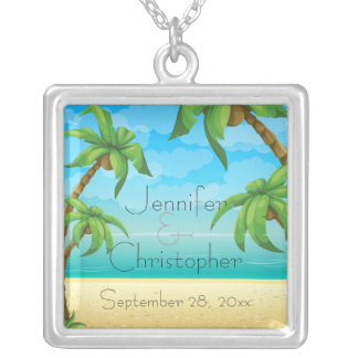 Tropical Beach and Palm Trees Wedding Memento Necklaces