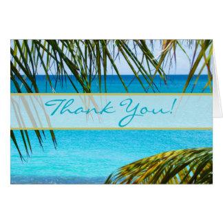 Tropical Beach and Palms  Wedding Thank You Card