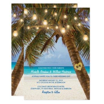 Beach Themed Tropical Beach and String Lights Wedding Card