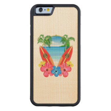 Tropical Beach And Surfboards Carved Maple iPhone 6 Bumper Case