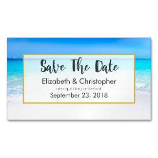 Tropical Beach and Turquoise Sea Save The Date Business Card Magnet