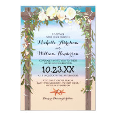Tropical Beach Arbor Floral Lights Wedding Invitation