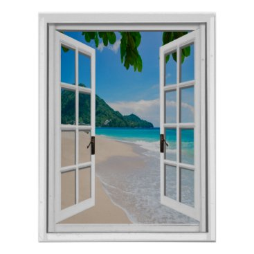 Art Themed Tropical Beach Artificial Window View Poster