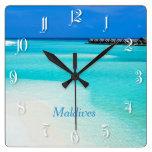 Tropical beach at Maldives Square Wall Clocks