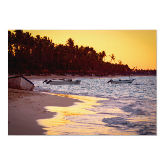 Tropical beach at sunset card