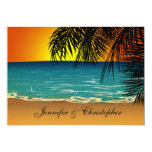 Tropical Beach at Sunset Wedding Invites