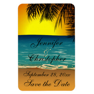 Tropical Beach at Sunset Wedding Save the Date Magnet