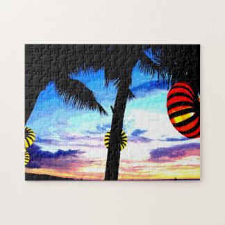 Tropical Beach at Sunset with Lit Lanterns Puzzles