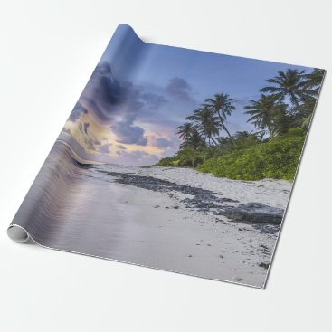 Tropical Beach at Sunset Wrapping Paper