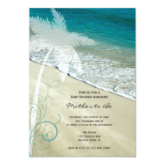 tropical beach baby shower invitation