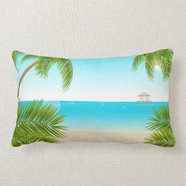 all_summer_products Tropical Beach Background Throw Pillow