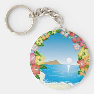 Tropical Beach Basic Round Button Keychain