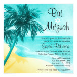 Tropical Beach Bat Mitzvah Invitations Custom Announcements