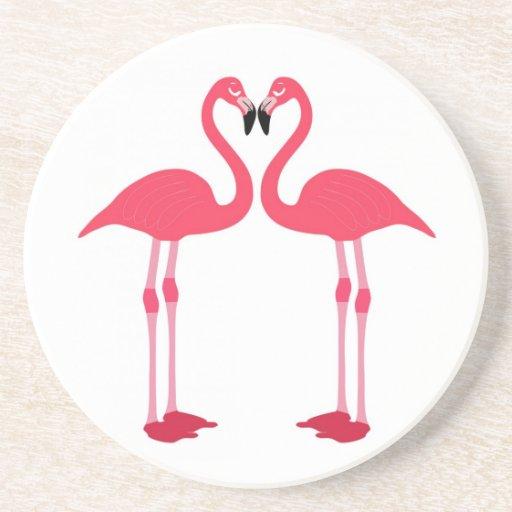 Tropical Beach Birds Destiny Flamingos Drink Coaster