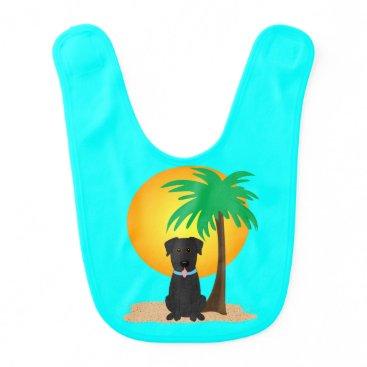 Beach Themed Tropical Beach Black Lab Baby Bib