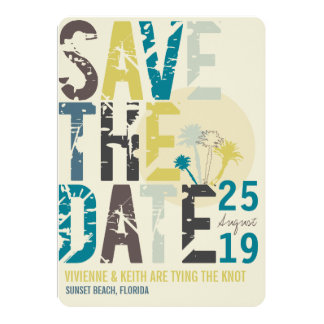 Tropical Beach Blue Palm Trees Photo Save The Date 5x7 Paper Invitation Card