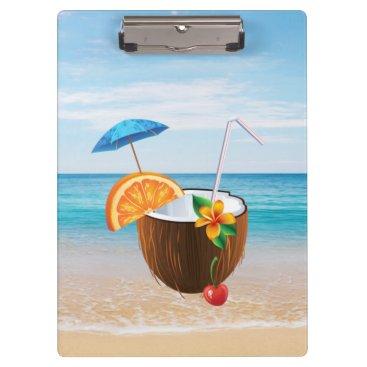 Tropical Beach,Blue Sky,Ocean Sand,Coconut Coctail Clipboard