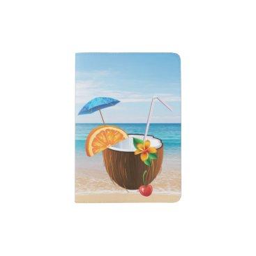 Beach Themed Tropical Beach,Blue Sky,Ocean Sand,Coconut Coctail Passport Holder