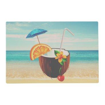 Tropical Beach,Blue Sky,Ocean Sand,Coconut Coctail Placemat