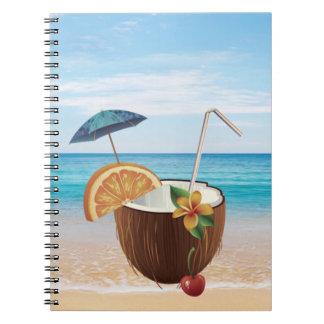 Tropical Beach,Blue Sky,Ocean Sand,Coconut Coctail Spiral Notebook