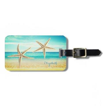 Beach Themed Tropical Beach,Blue Sky,Ocean Sand,Starfish Bag Tag