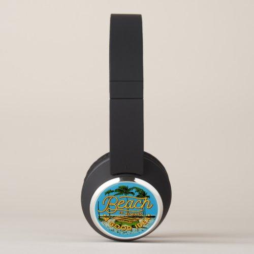 Tropical Beach Boon Docking Van Surfboard  Headphones