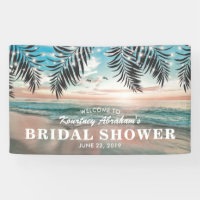 Tropical Beach Bridal Shower | String of Lights Banner