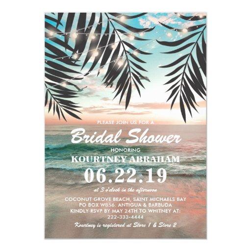 Tropical Beach Bridal Shower String of Lights Invitation
