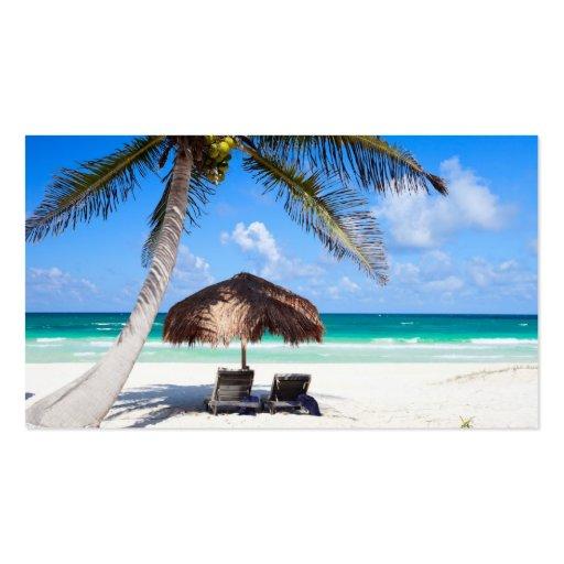 Tropical beach business card templates