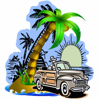 Tropical beach car statuette