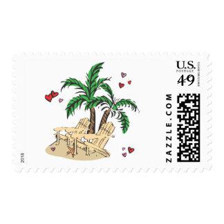 Tropical Beach Chairs Stamp