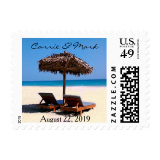 Tropical Beach Chairs Wedding Postage