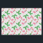 """Tropical Beach Christmas Flamingos Birds Tissue Paper<br><div class=""""desc"""">Beach theme Christmas gift wrap with flamingos wearing Santa hats. Ornaments and holiday lights decorate the palm trees. You can make the pattern larger or smaller. Click on Customize It and use the plus/minus buttons to adjust the size. Wrap your gifts in warm winter cheer. Copyright Bendel Creative Design LLC...</div>"""