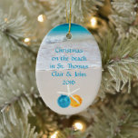 """Tropical Beach Christmas Holiday Photo Ornament<br><div class=""""desc"""">Keepsake photo ornament from a beach,  or Christmas vacation.  Add a picture to the back with an ocean and beach sand image on the front.  Custom text can be anything,  and the starfish with ball ornaments can be deleted.</div>"""
