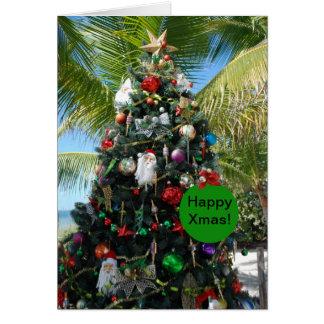 Tropical Beach Christmas Tree Card