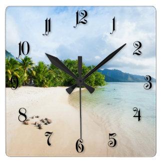 Tropical beach square wall clocks