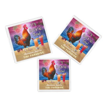 Beach Themed Tropical Beach Cocktail Bar Funny Rooster Chicken Acrylic Tray