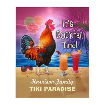 Tropical Beach Cocktail Bar Funny Rooster Chicken Acrylic Wall Art