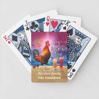 Tropical Beach Cocktail Bar Funny Rooster Chicken Bicycle Playing Cards