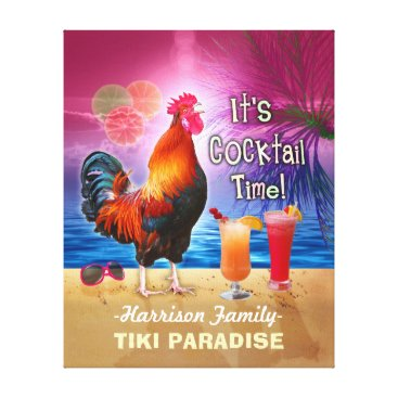 Tropical Beach Cocktail Bar Funny Rooster Chicken Canvas Print