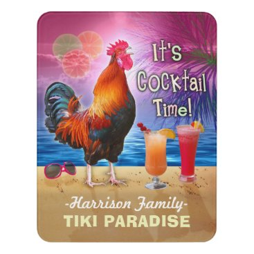 Beach Themed Tropical Beach Cocktail Bar Funny Rooster Chicken Door Sign