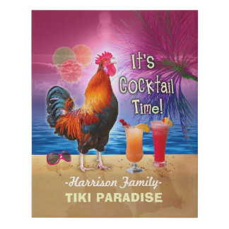 Tropical Beach Cocktail Bar Funny Rooster Chicken Faux Canvas Print