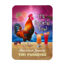 Tropical Beach Cocktail Bar Funny Rooster Chicken Magnet
