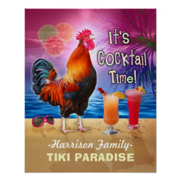 Tropical Beach Cocktail Bar Funny Rooster Chicken Poster
