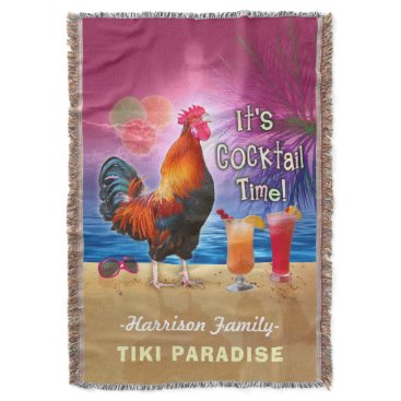 Beach Themed Tropical Beach Cocktail Bar Funny Rooster Chicken Throw